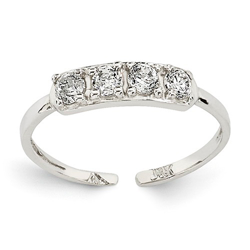 14kt White Gold Four Stone Cubic Zirconia Toe Ring