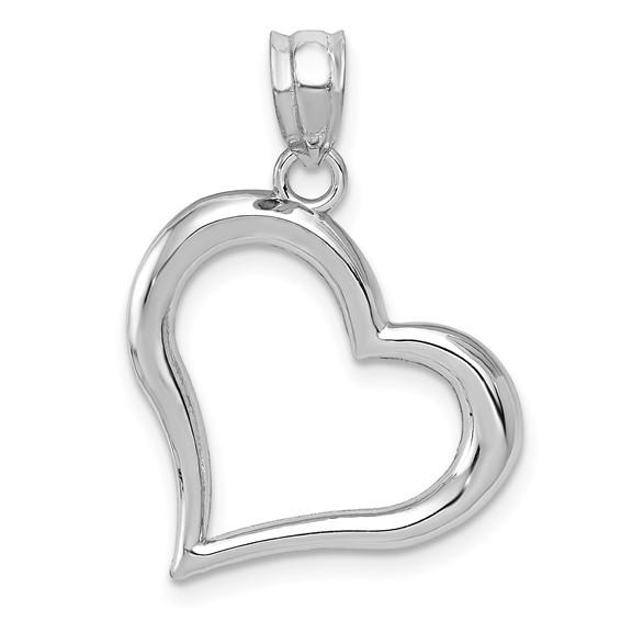 14kt White Gold 3/4in Open Heart Pendant