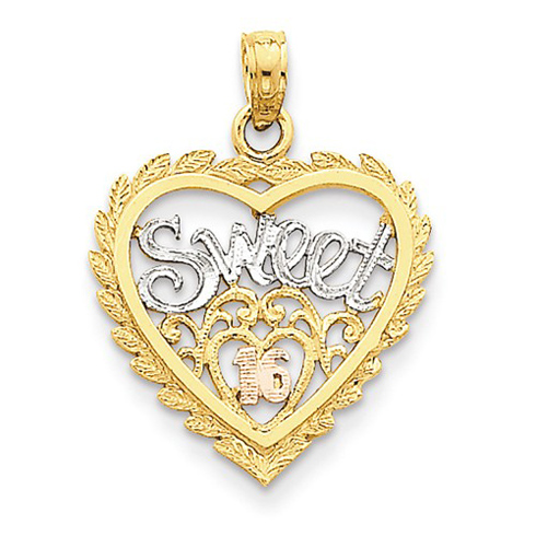 14kt Two-tone Gold 3/4in Heart Sweet 16 Charm