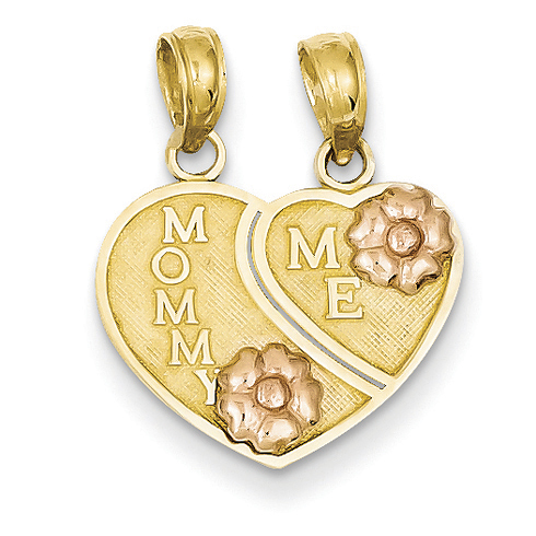 14kt Two-tone Gold Mommy - Me Breakable Heart Pendant