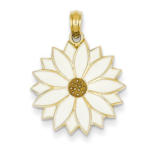 14kt Yellow Gold 3/4in White Enamel Daisy Flower Pendant
