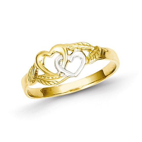 14kt Two-tone Gold Heart Duo Ring with Leaves