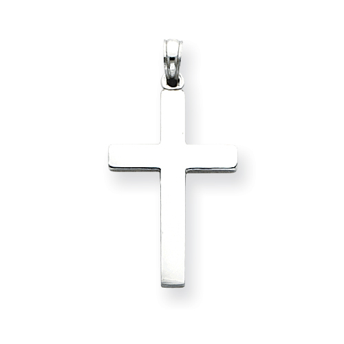 14k White Gold Plain Latin Cross Pendant 15/16in
