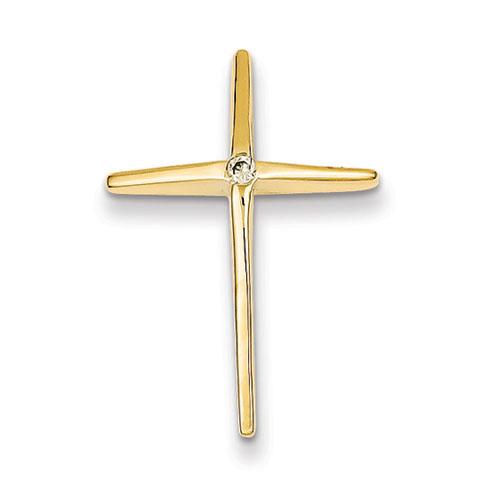 14kt Yellow Gold 1in Diamond Passion Cross Slide