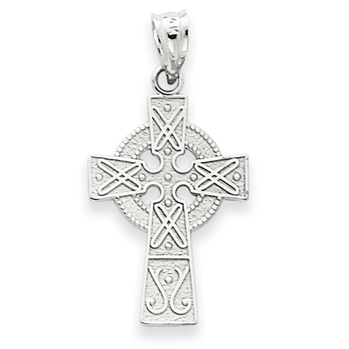 14kt White Gold 3/4in Celtic Cross