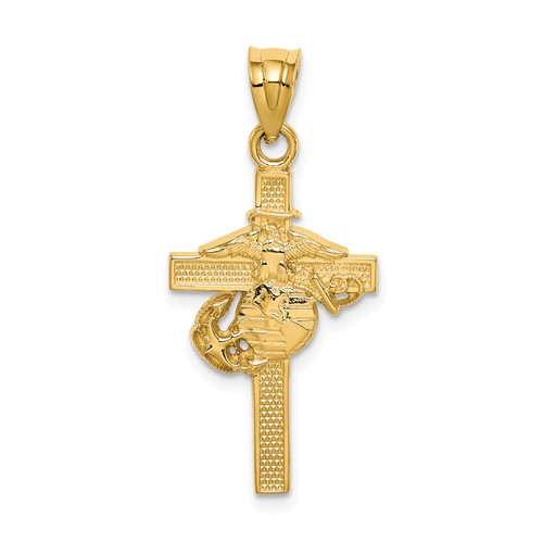 14k Yellow Gold United States Marine Corps Cross Pendant 1in
