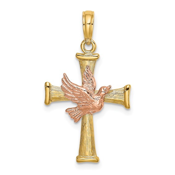 14kt Two-tone Gold 13/16in Dove Cross Pendant