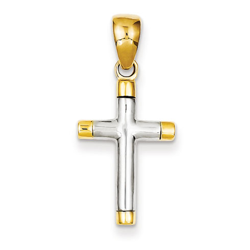 14k Two-tone Gold Smooth Cross Pendant 7/8in