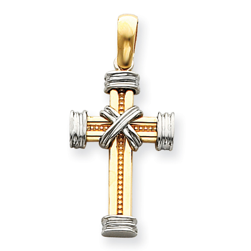 14kt Two-tone Gold 1 1/4in Latin Wrapped Cross Pendant