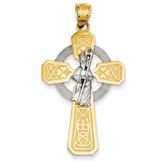 14k Two-tone Gold 1 1/2in St. Patrick Celtic Cross Pendant