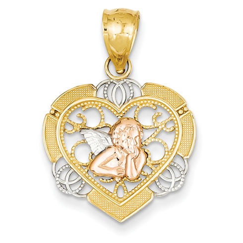 14k Tri-color Gold 3/4in Angel in Heart Pendant