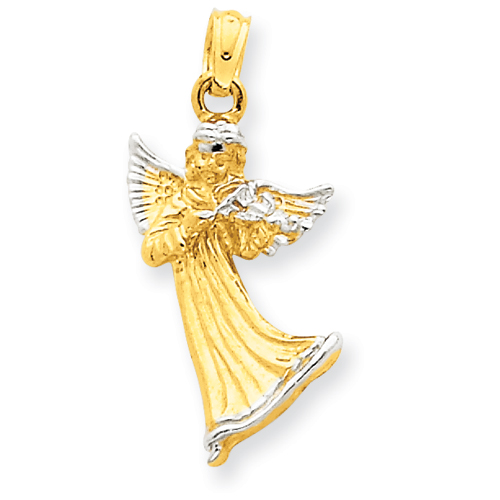 14kt & Rhodium 3/4in Angel with Harp Pendant