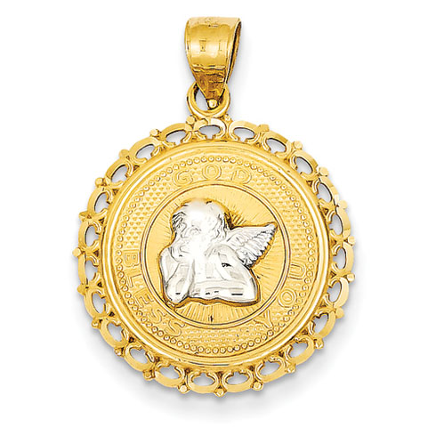 14kt Two-tone Gold 3/4in Angel God Bless You Pendant