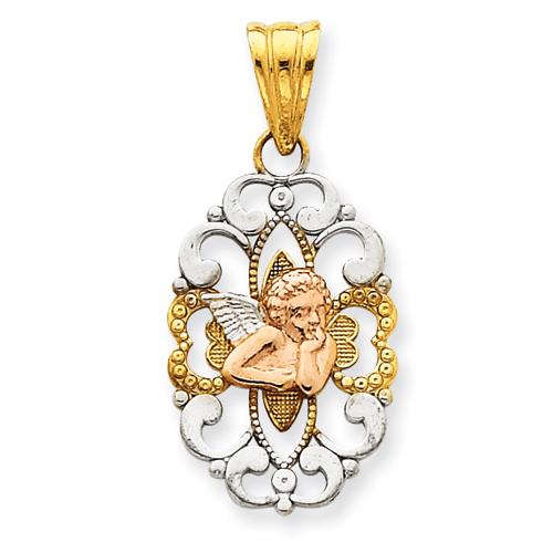 14k Tri-Color Gold 7/8in Fancy Oval Angel Pendant