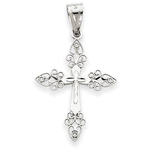 14kt White Gold 1in Filigree Cross Pendant