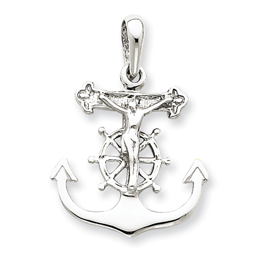 14kt White Gold 3/4in Mariner's Cross Pendant