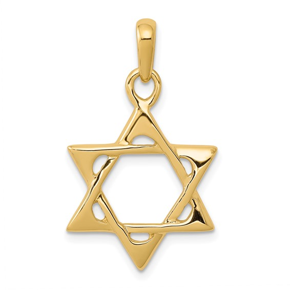 Star of David Pendant with Open Back 3/4in 14k Yellow Gold