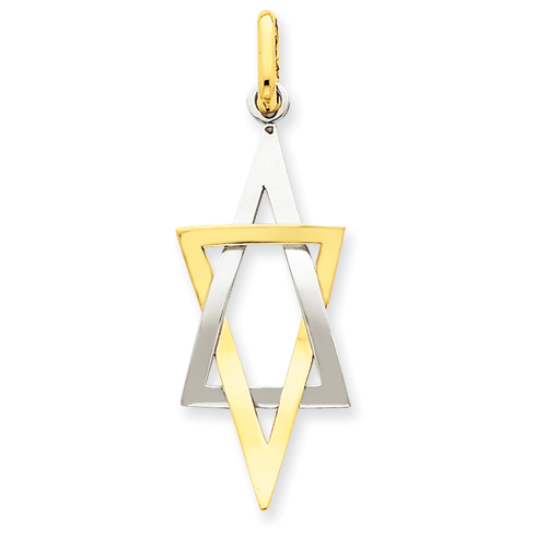 14k Two-tone Gold 1 1/4in Elongated Jewish Star of David Pendant