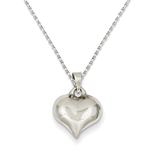14kt White Gold 3/8in Puffed Heart Pendant on 18in Chain