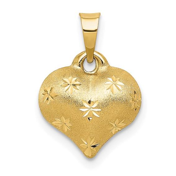 14kt Yellow Gold 3/8in Diamond-cut Puff Heart Charm
