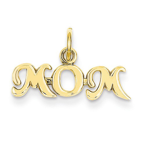 14kt Yellow Gold 1/4in MOM Script Charm