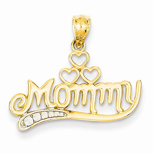 14kt Yellow Gold 5/8in Mommy Charm with Three Hearts