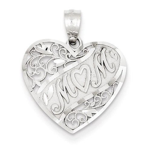 14kt White Gold 5/8in Heart Shaped Mom Pendant