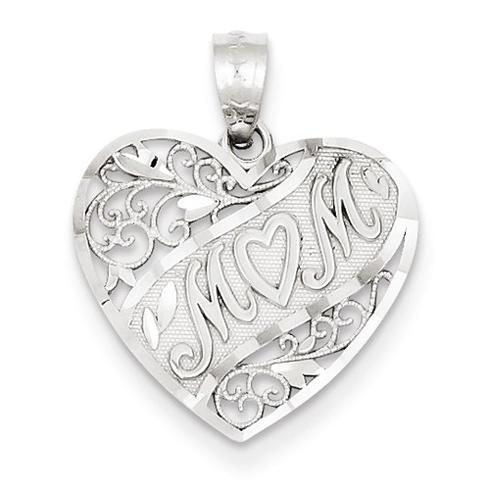 14kt White Gold 5/8in Heart Shaped Mom Pendant