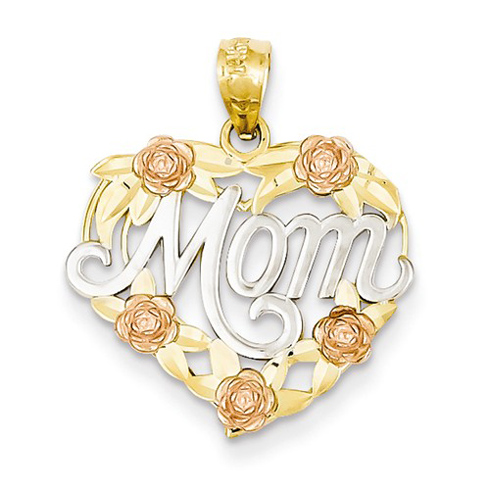 14kt Tri-tone Gold 5/8in Heart Mom Floral Pendant