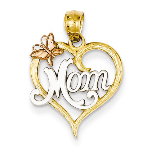 14kt Two-tone Gold 5/8in Heart Mom Butterfly Pendant