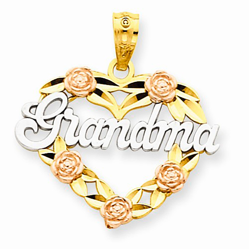 14kt Two-tone Gold 3/4in Heart Grandma Charm