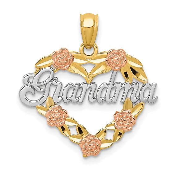 14kt Two-tone Gold 3/4in Heart Grandma Charm