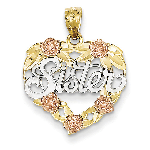 14kt Two-tone Gold and Rhodium Sister Heart Pendant