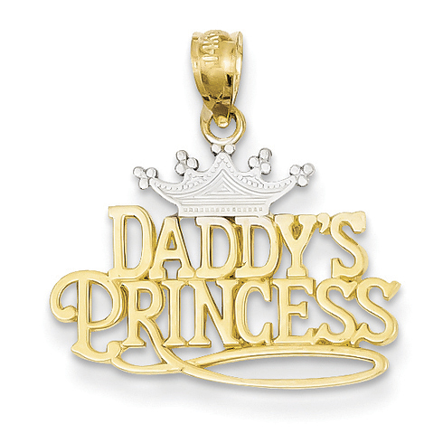 14kt Yellow Gold and Rhodium Daddy's Princess Pendant