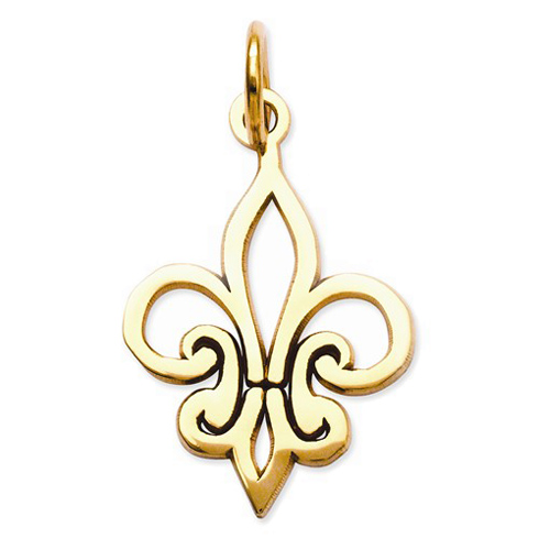14kt Yellow Gold 5/8in Outline Fleur de Lis Charm