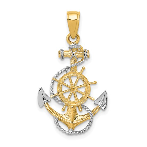 14kt Two-tone Gold 7/8in Fancy Anchor Pendant with Rope and Wheel