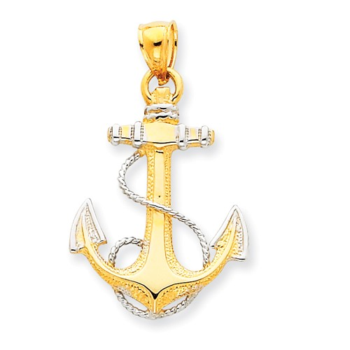 14kt Two-tone Gold 1in Fancy Anchor Pendant with Rope