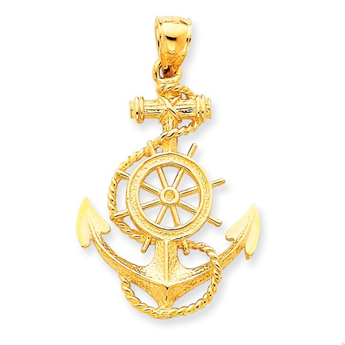 14kt Yellow Gold 1 1/4in Anchor and Wheel Pendant with Rope