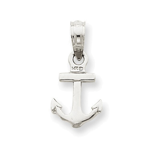 14kt White Gold 3/8in Anchor Charm