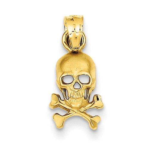 14k Yellow Gold Skull and Crossbones Charm