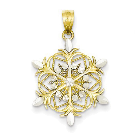 14kt Two-tone Gold 3/4in Snowflake Pendant