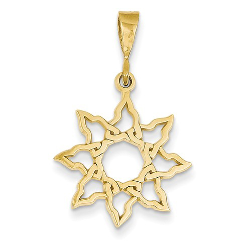14kt Yellow Gold 3/4in Polished Sun Pendant