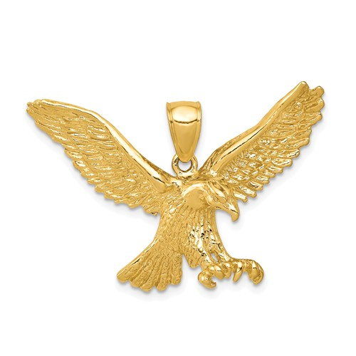 14k Yellow Gold Hunting Eagle Pendant 1in