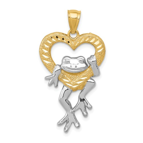 14kt Yellow Gold 1in Frog in Heart Pendant