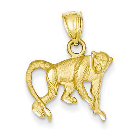 14kt Yellow Gold 1/2in Monkey Charm