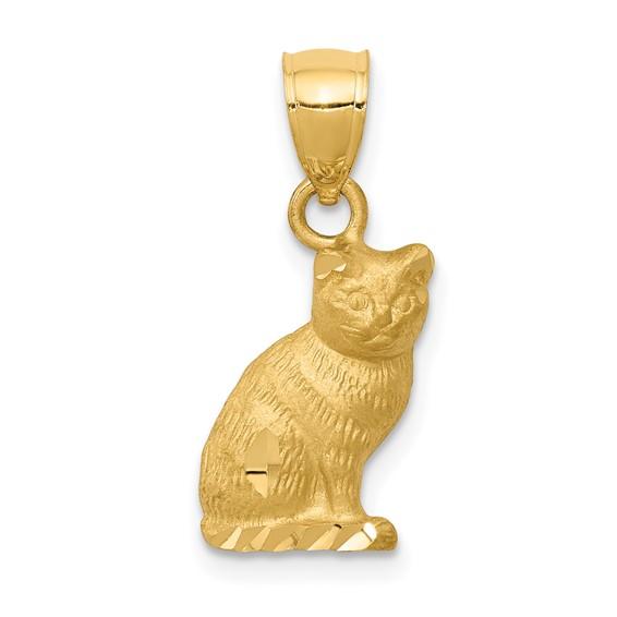 14kt Yellow Gold 1/2in Diamond-cut Sitting Cat Pendant