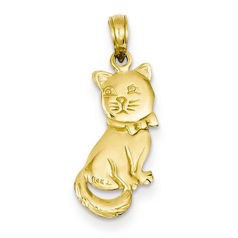 14kt Yellow Gold 3/4in Bowtie Cat Pendant
