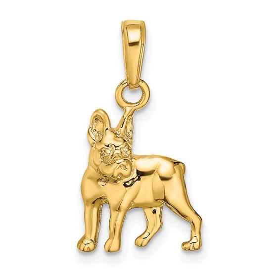 14kt Yellow Gold Boston Terrier Dog Pendant