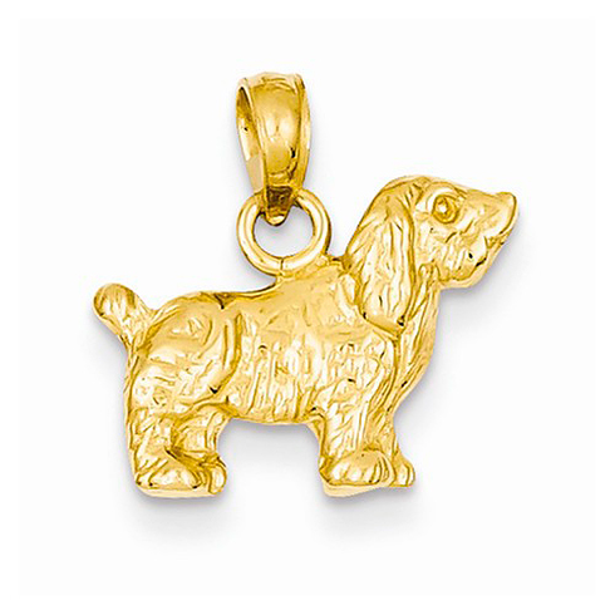14kt Yellow Gold Cocker Spaniel Dog Pendant