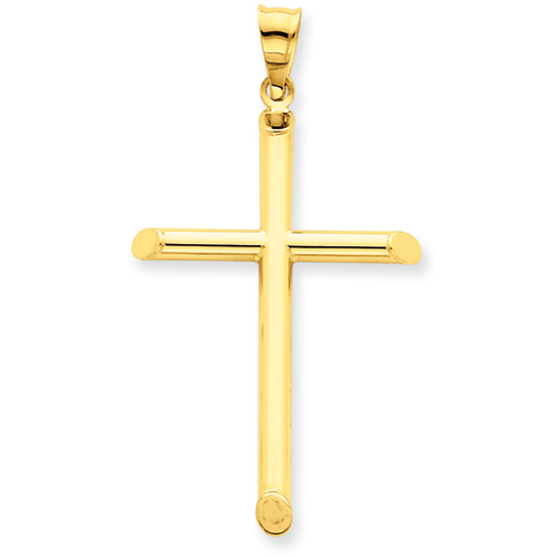 14kt Yellow Gold 3-D 1 3/8in Hollow Cross